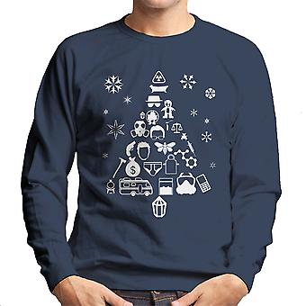 Breaking Bad Christmas Tree Silhouette White Men's Sweatshirt