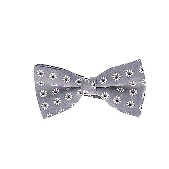 Snobbop-bound fly grey flowers loop cotton bow tie