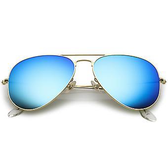 Premium Small Classic Matte Metal Aviator Sunglasses With Colored Mirror Glass Lens 57mm
