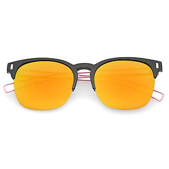 Semi Rimless Wire Hook Temples Square Colored Mirror Lens Horn Rimmed Sunglasses 56mm