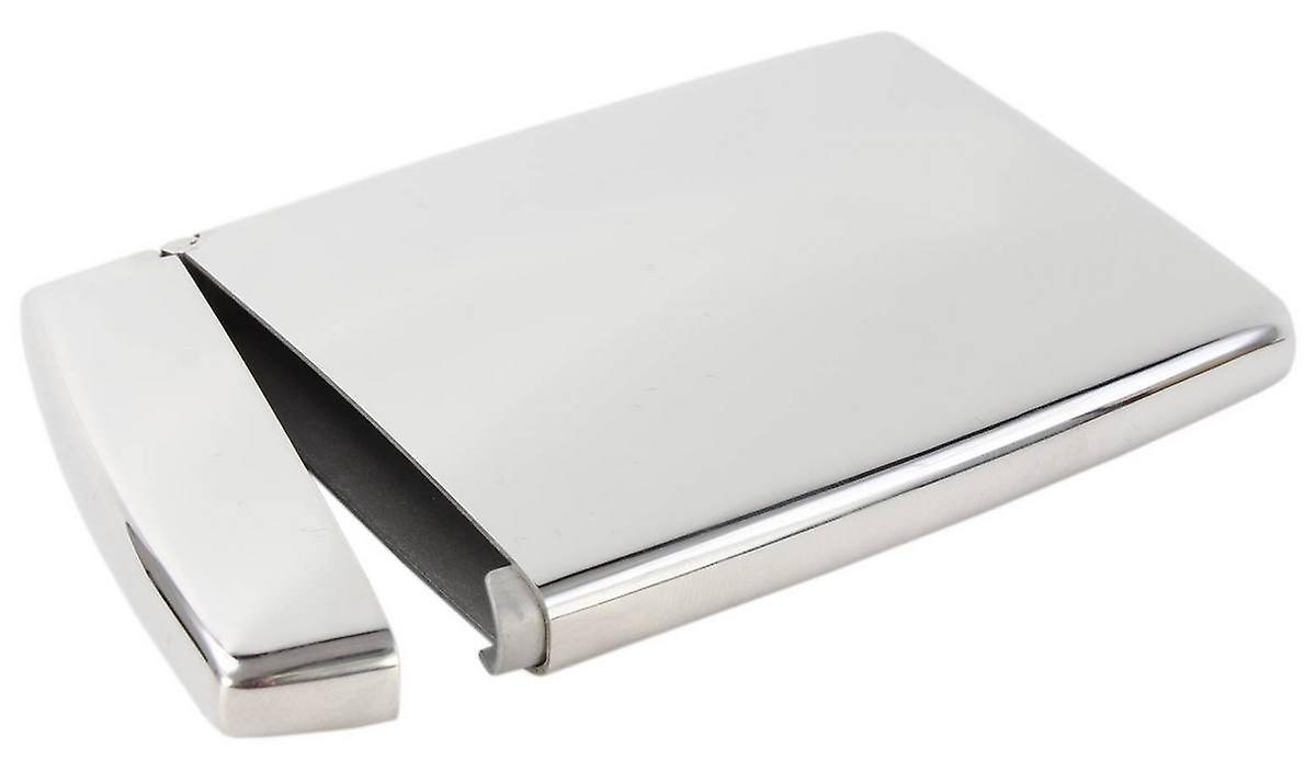 KJ Beckett Stainless Steel Flip-Top Business Card Holder - Silver