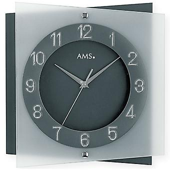 Wall clock watch quartz watch angular mineral glass 31 x 31 cm design watch AMS