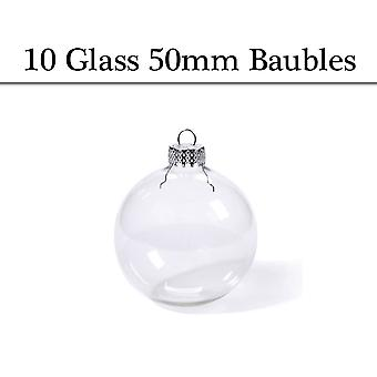 10 Small Fillable 50mm Clear Glass Ball Christmas Bauble Ornaments