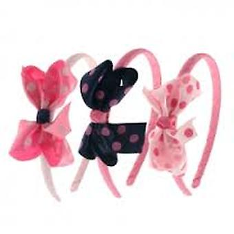 Ribbon Covered Aliceband With Large Spotty Fabric Bow