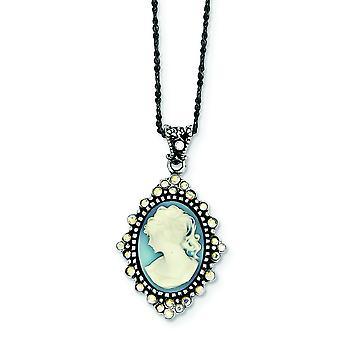 Sterling sølv antikke Blue Crystal Cameo vedhæng kæde - 16 tommer - fjeder Ring