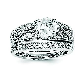 Sterling Zilver gepolijst 2-delige Cubic Zirconia Wedding Ring - Ring grootte instellen: 6 tot en met 8