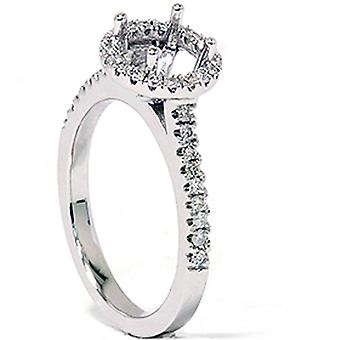 1 / 3ct Pave Diamond Engagement Semi Mount Ring 14k oro bianco