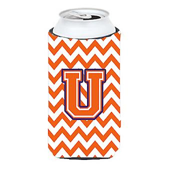 Letter U Chevron Orange and Regalia Tall Boy Beverage Insulator Hugger