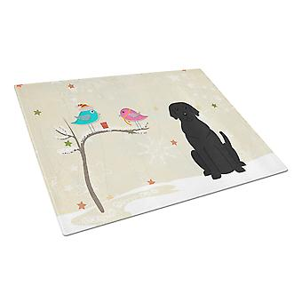 Christmas Presents between Friends Black Labrador Glass Cutting Board Large