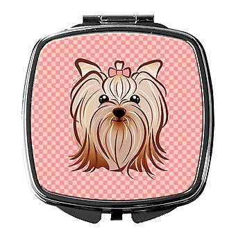Pink Checkered Yorkie / Yorkshire Terrier Compact Mirror