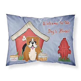 Dog House Collection English Bulldog Red White Fabric Standard Pillowcase