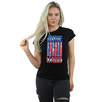 DC Comics Women's Justice League Movie Team Flag T-Shirt