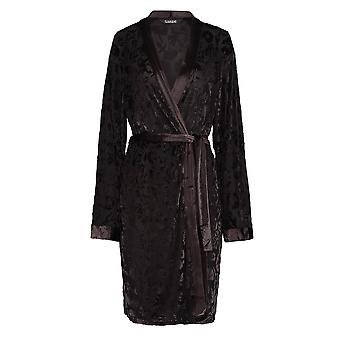 Slenderella GL8713 女性の黒の花柄ガウン長袖着物