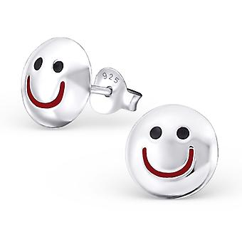 Smiling face - 925 Sterling Silver Plain Ear Studs