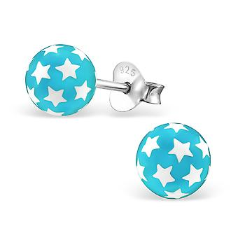 Ball - 925 Sterling Silver + Plastic Colourful Ear Studs