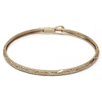 "Floreo 10k Yellow Gold Kids bangle bracelet Flexible Round with Diamond Cut Design (0.12"" Wide)"