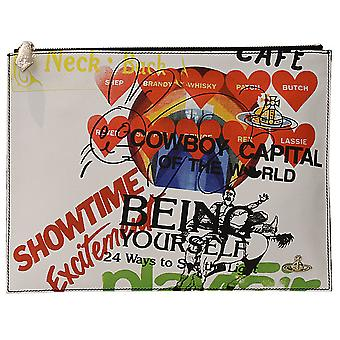 Vivienne Westwood mens 13872 white/black leather clutch