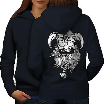 Crazy North Joke Women NavyHoodie Back | Wellcoda