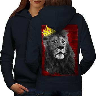 Royal Lion Kingdom Women NavyHoodie Back | Wellcoda