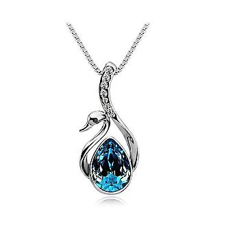 Womens Crystal Dark Turquoise Swan Necklace Pendant Silver BG1669