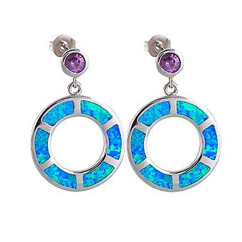 Earrings woman dangling Crystal Violet silver plated circles and Opal