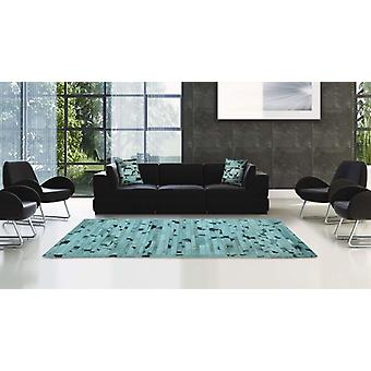 Madisons Turquoise Blue Cowhide Patchwork Area Rug