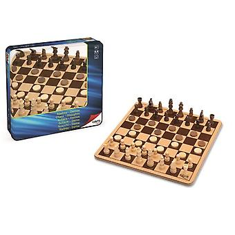 Cayro Wooden Chess-Checkers Metal Box