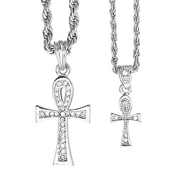 Iced out bling mini chain pendant set - 2 x cross silver