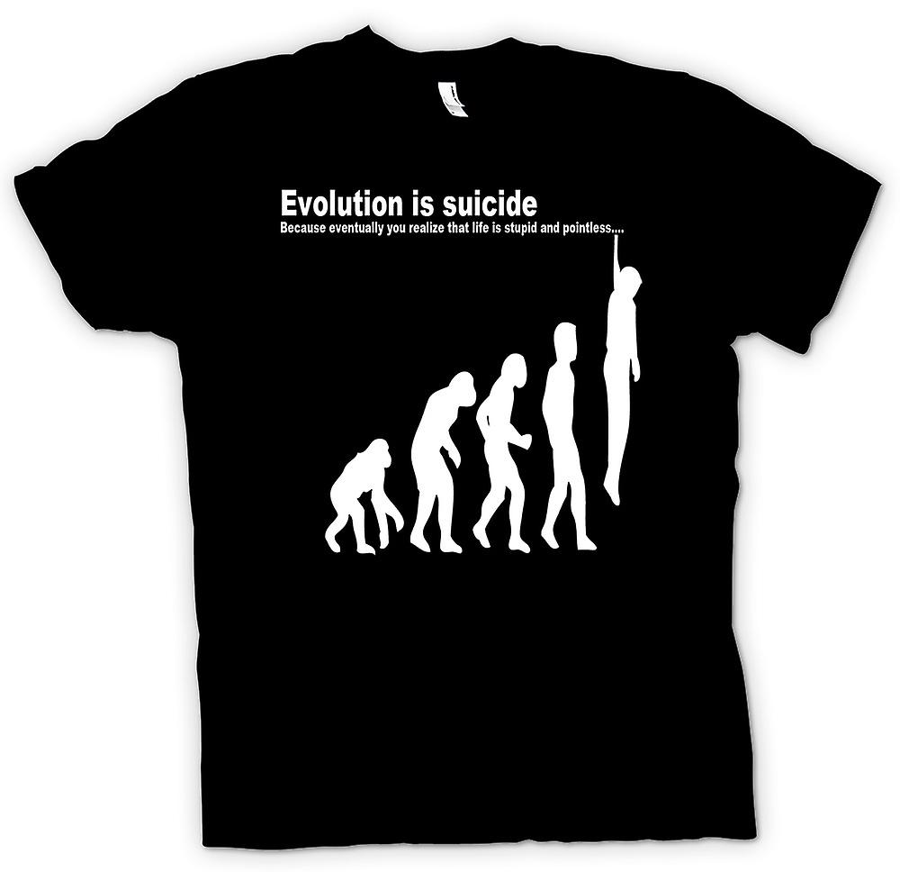 Mens T-shirt - Evolution Is Suicide - Funny