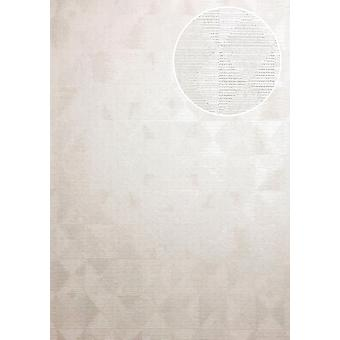 Tone on-tone cream wallpaper ATLAS XPL-592-2 non-woven wallpaper structured with geometric forms shimmering white perl white ivory 5.33 m2