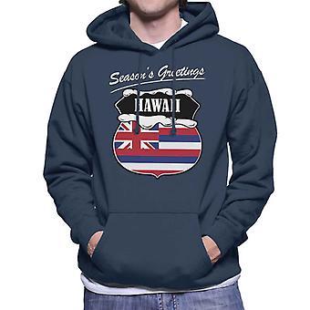 Seasons Greetings Hawaii State Flag Weihnachten Herren Sweatshirt mit Kapuze