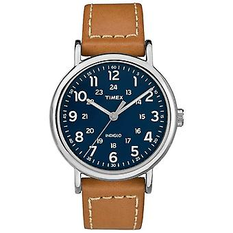 Timex Mens Weekender Tan Leather Strap Blue Dial TW2R42500D7PF Watch
