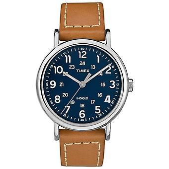 Męskie Timex Weekender Tan skóra pasek niebieski cyferblat zegarek TW2R42500D7PF