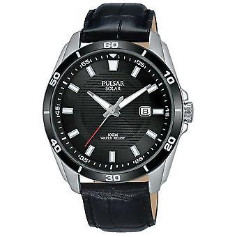 Pulsar Mens Solar Black Dial Black Leather Strap PX3157X1 Watch