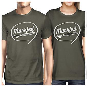 Sposato con la mia anima gemella Dark Grey coppia camicie sposi regalo di corrispondenza