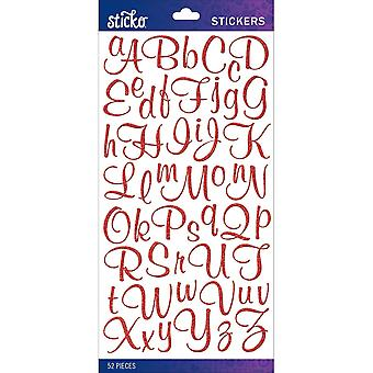 Sticko Alphabet Stickers-Red Glitter Script
