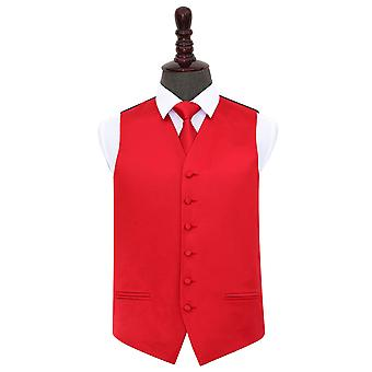 Red Plain Satin Wedding Waistcoat & Tie Set