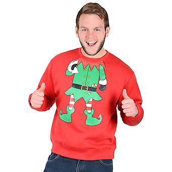 Volwassenen Unisex nieuwigheid Red Christmas Xmas Sweatshirt Jumper - groene Elf pak