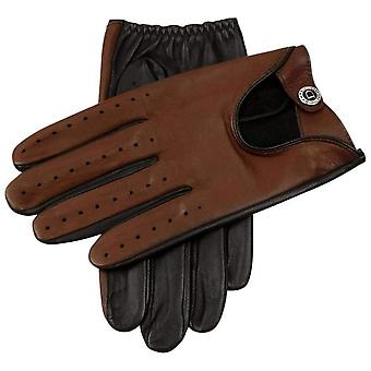 Dents Woburn Contrast Hairsheep Leather Driving Gloves - Black/High Tan
