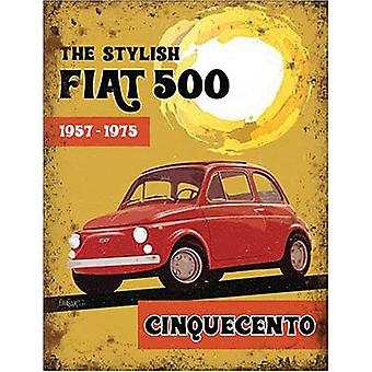 Fiat 500 staal ondertekenen 200 X 150 Mm