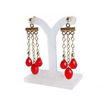 Gemshine - dames - kroonluchter - oorbellen - goud verguld - jade - rood - druipende - 4 cm