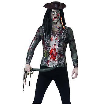 Trajes de los hombres Zombie piratean halloween t-shirt