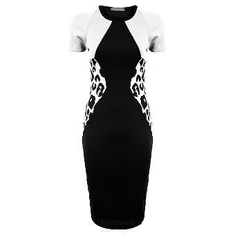 Ladies kontrast panelet Leopard Side vin elfenben Black Women's Bodycon kjole