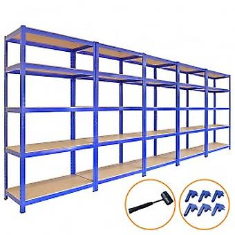 5 x 90cm Blue Shed Utility Greenhouse Storage Racks Garage Shelving Bays 4200kg - Free bay connectors and mallet.