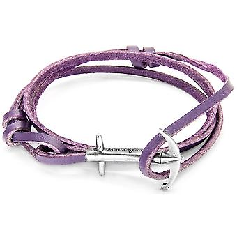 Anchor and Crew Admiral Silver and Leather Bracelet - Grape Purple