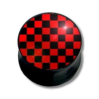 Ear Plug Piercing, Body Jewellery, Black and Red Squares | 6 - 16 mm
