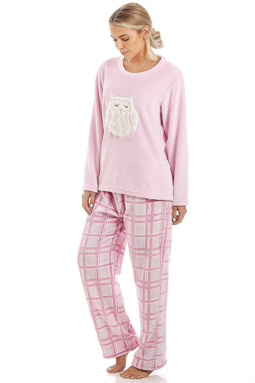 Camille Pink rutig supermjuk Fleece Uggla karaktär Pyjamas Set  69df3fa8f8fce