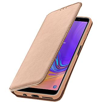 Slim Case, Classic Edition stand case with card slot Galaxy A7 2018 - Rosegold