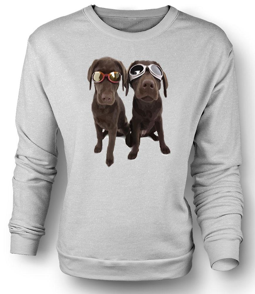 Mens Sweatshirt Cool Black Labradors With Sunglasses
