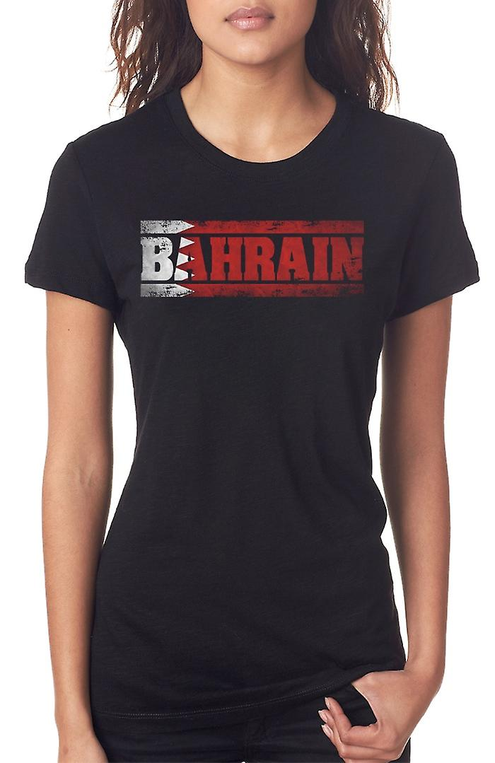 Bahrain Bahranian Flag - Words Ladies T Shirt